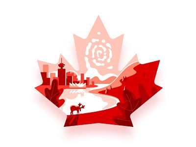 Maple Leaf maple leaf sticker design redstamp red art illustration canada day