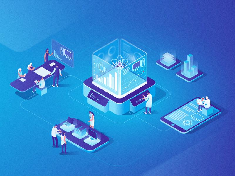 Dow Jones | Data and News Analytics people collaboration design statistics 3d product news data analytics illustration isometric