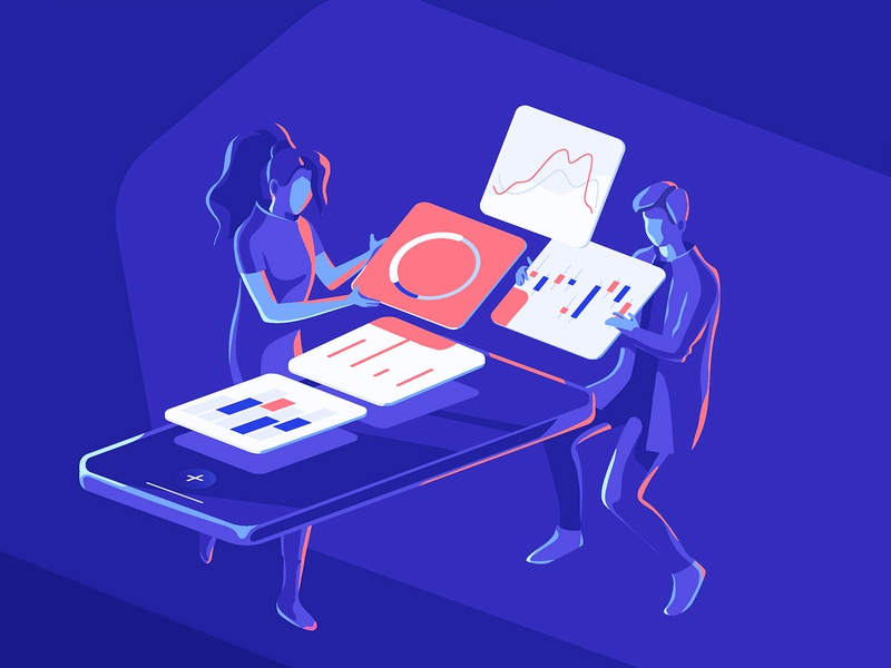 Humanised Interface data isometric collaboration design illustration analytics neon 3d drawing concept dashboard characters people