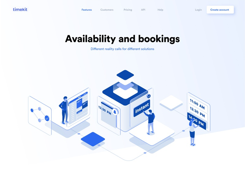 Availability and booking dmit business data planning calander time management booking illustration landing collaboration characters people isometric