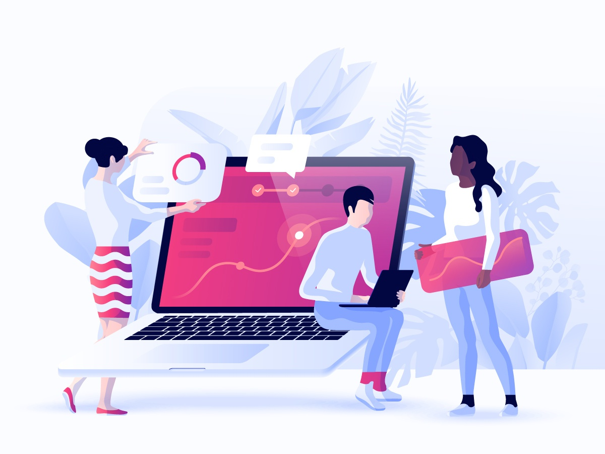 Data Analytics Concept vector business analysis header concept developement interface design data collaboration 3d characters illustration dmit