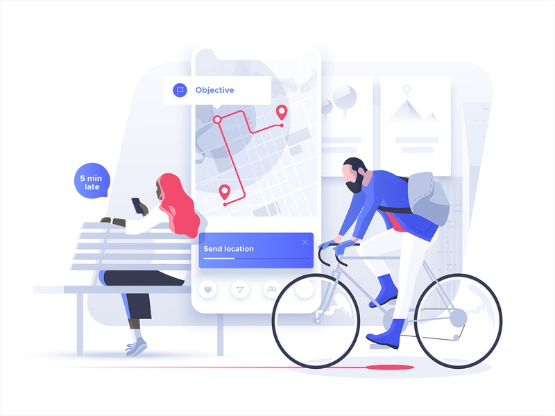 Smart Mobility concept dmit vector people city map cycling date waiting interface app navigation characters illustration