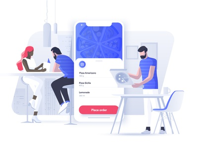 Food ordering vs eating out dmit header image app concept characters people pizza home restaraunt eating out food ordering