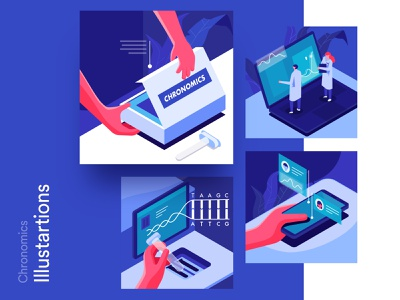 DNA Checking chat vector data people characters illustration process analysis application healthcare dna testing isometric colaboration