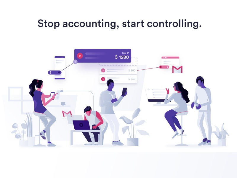 Smart Accounting dmit ui data working business people illustration vector collaboration design characters invoicing accounting