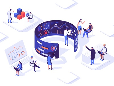 Analytics Lab collaboration ui dmit people 3d concept data design characters isometric illustration