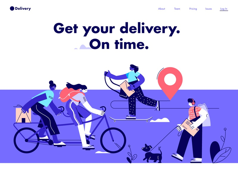 Delivery Concept branding cycling skate courier deliver concept design illustration vector characters people