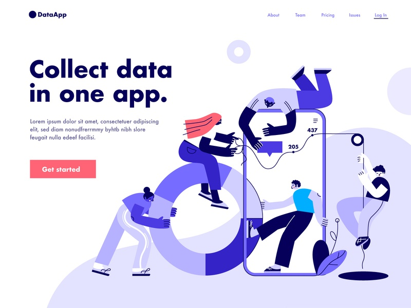 Playful Analytics collaboration illustration dmit teamwork people playful charts analytics data landing page design characters concept abstract