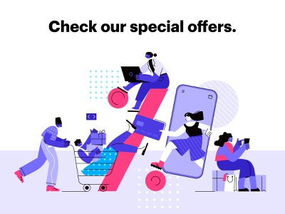 Special Offers hero image business buying ecommerce sale offers discount online shop design vector concept illustration people characters