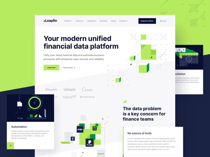 Leapfin Homepage Design minimalistic bold clean data platform financial illustration ui website branding webdesign