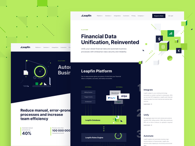 Financial Automation Website website webdesign ui platform minimalistic illustration financial data clean branding bold