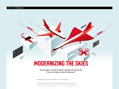 Modernizing The Skies - Editorial Illustration dmit layout 3d design editorial technology flying aircraft article isometric illustration