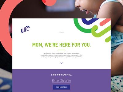 WIC Landing Page map moms white web design web layout flat ux ui clean
