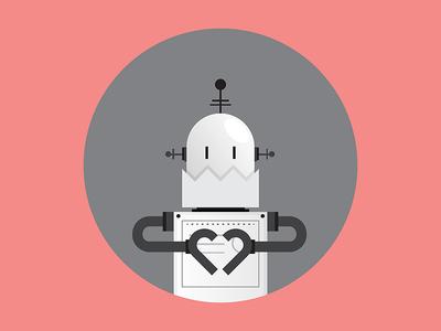 Robot Love character white black pink robot illustration