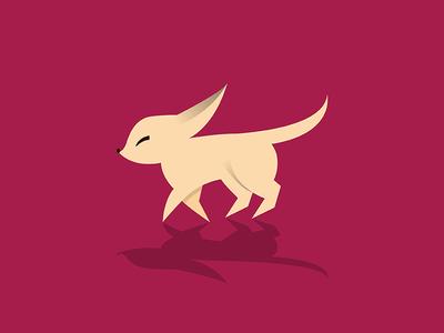 Fennec Fox animal flat illustration red fennec fox