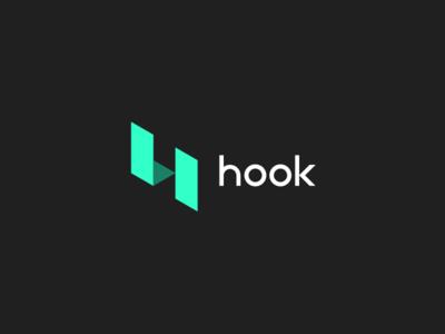 Hook - Logo Design Concept marketing geometric minimalistic teal hook branding visual identity design logo