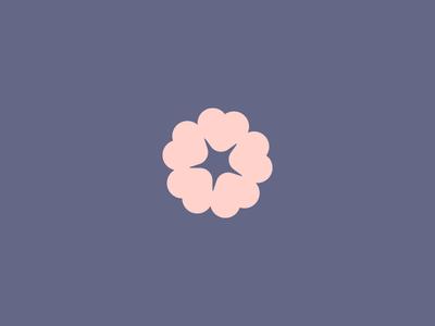 Hearts + Flower cherry blossom purple visual identity logo baby heart flower