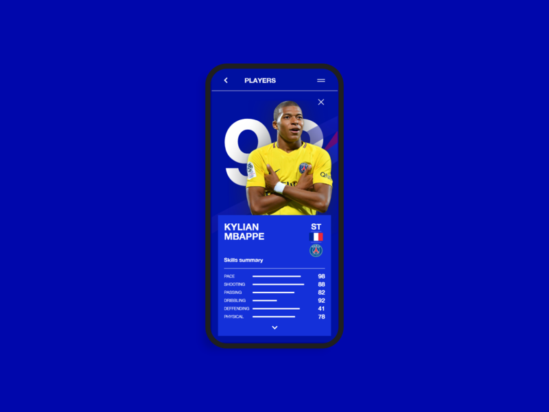 Players list web xd after effects interface interaction design interaction mobile app design mobile app app fifa 20 mobile ui design fifa ui