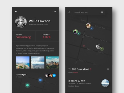 Social Driving maps screen profile design app photoshop theme dark sketch uber maps ui ux