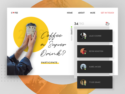 People who like Covfefe color light photoshop design app landing page sketch competition coffee