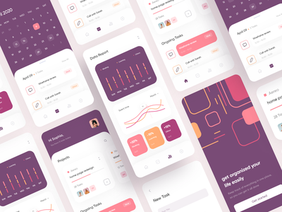 Freelancer schedule app inspiration animation graphicdesign uitrend colorful calendar statistic light interaction mobile ui interactive design clean ui project managment to do app minimal uiux app design task manager schedule
