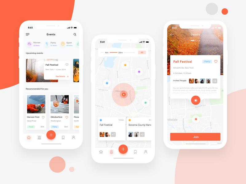 Event App Exploration light uiux design app design map tour photo gallery design white clean ui ui design minimal ios app event app