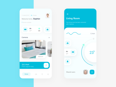 Smart Home App white clean ui photo illustration interactive design ux trends ui trends creative design smarthome app application clean ui light minimal uiuxdesign uiux uidesign ios app smart home app design