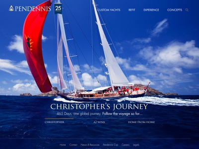 Pendennis website homepage webdesign design typography ux superyachts web