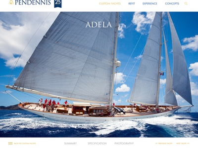 Pendennis yacht page luxury brand webdesign superyacht yacht travel luxury web