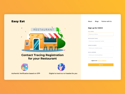 Contact Tracing Registration for your Restaurant apple design color dashboad ux free ui invite concept sign in sign up coronavirus covid19 tracing contact