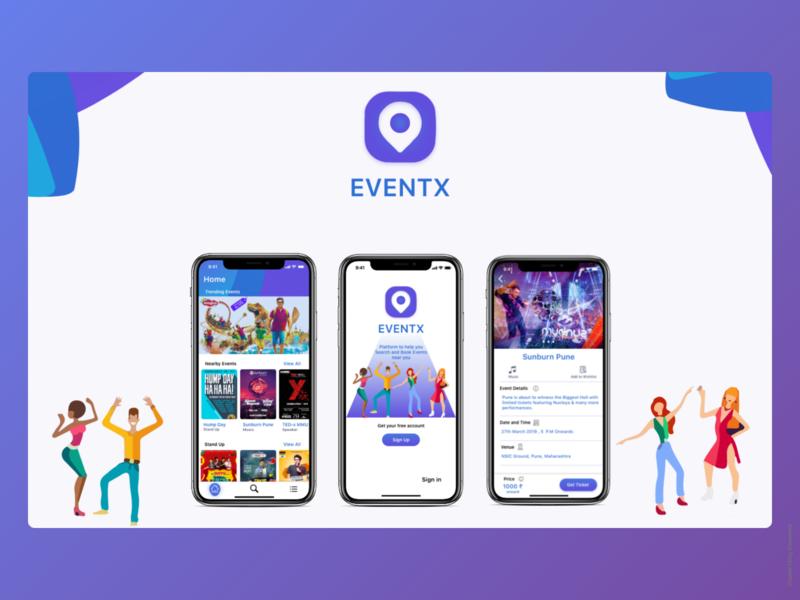 Event X animation responsive design branding product typography new app design design ux ui event app invite illustration free