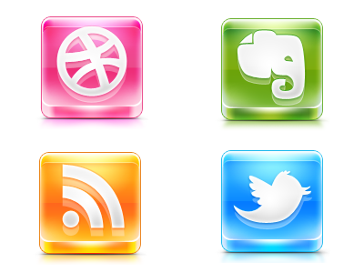 Social Glass social icons twitter dribbble rss evernote