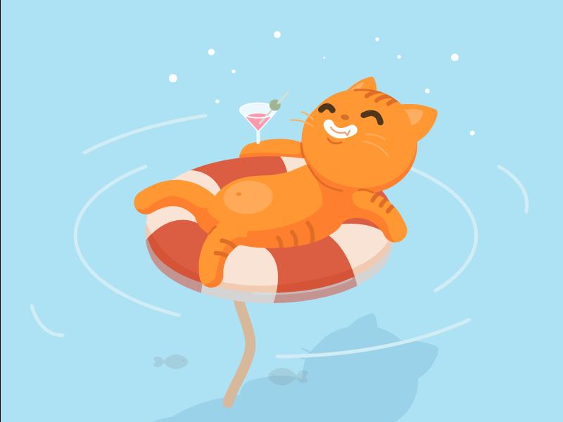 Relaxing cat illustrator vector flat illustration drawing animation ux ui art illustration design