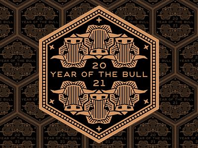 2021 Year of the Bull bull tessellation chinese newyear