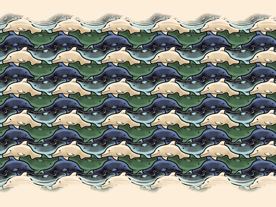 Dolphins illustration dolphins tessellation