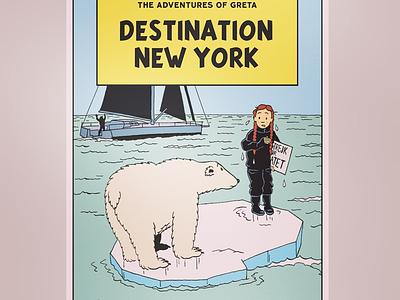 Greta Thunberg comic art illustration ligneclaire greta thunberg