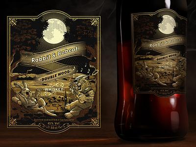 Rabbit & Bobcat Whiskey rabbit bobcat whiskey label engraving vintage illustration