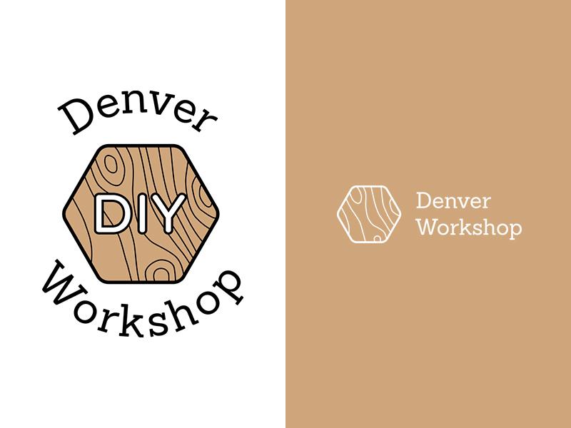 Wood Workshop Logo ochre brown workshop woodwork craftwork denver brand identity branding wood logo
