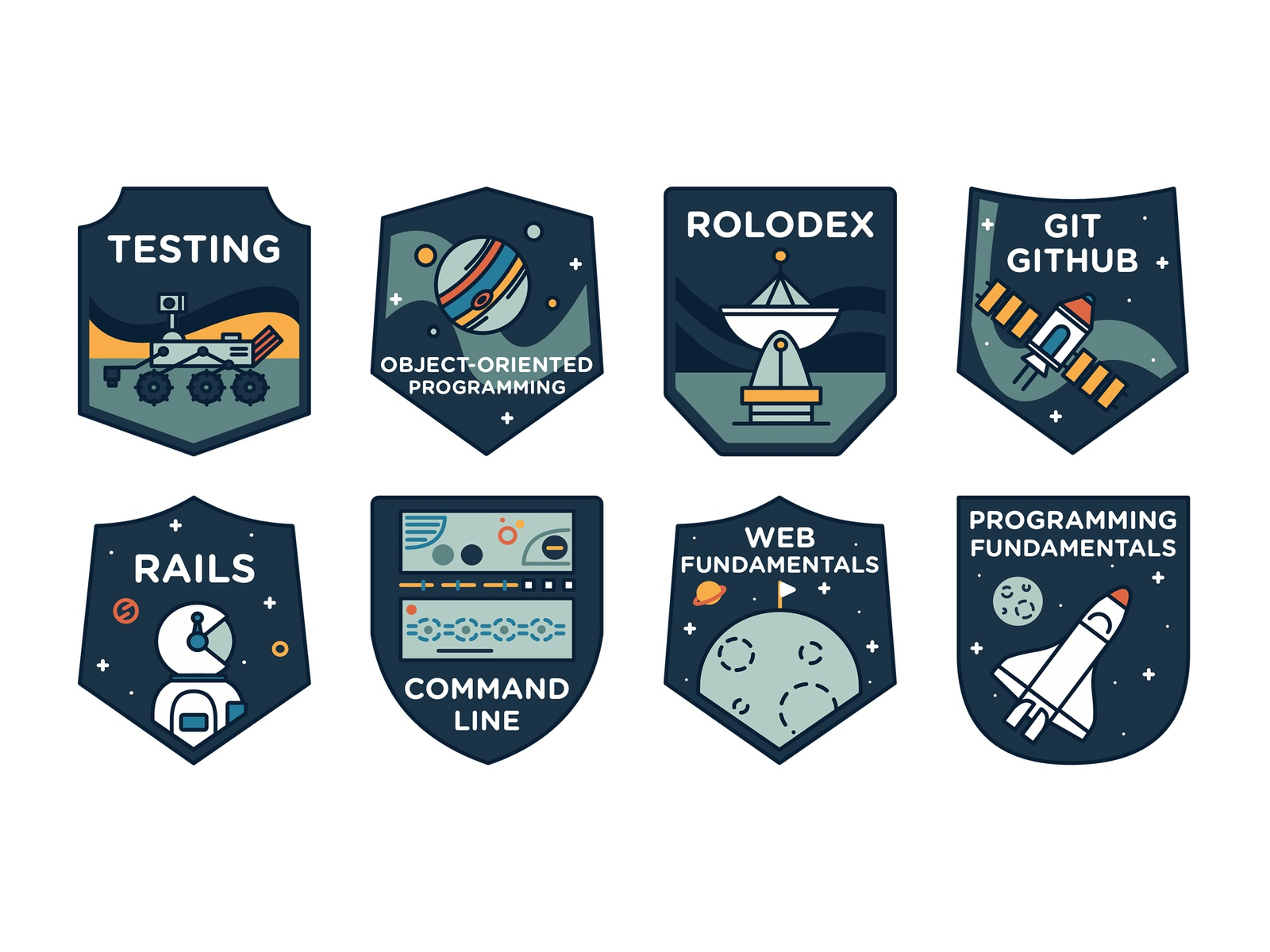 Learning Code Badges vector branding design knowledge credentials rocket astronaut moon satellite outer space space badge learning