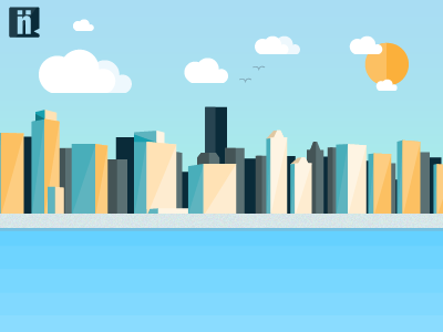 Niiche Realty Twitter Background city background buildings design illustration