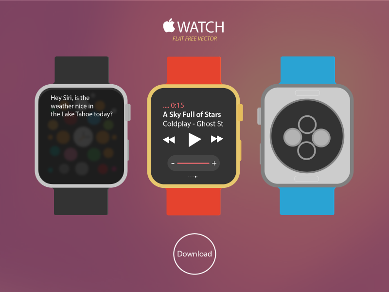 New Apple WATCH Free Vector Download vector free apple watch flat download applewatch
