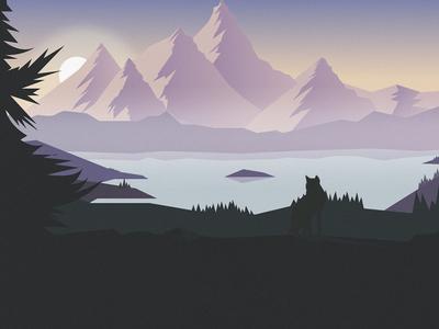 Mountains illustration sun water wolf illustration flat mountain