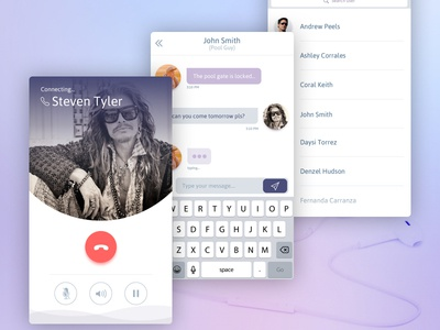Messaging Calling App send incoming contacts list chat flat messaging call