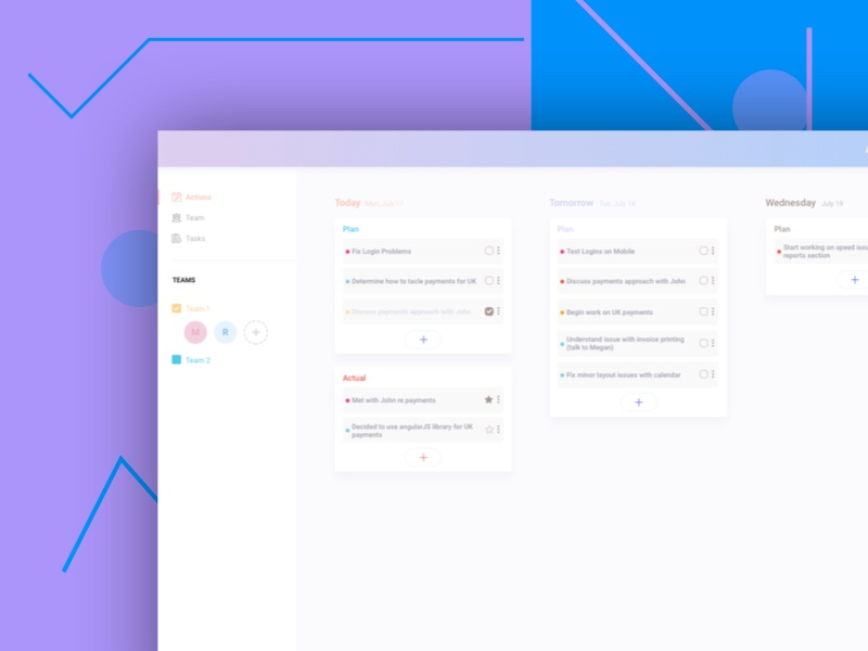 Planning App daily blue cards web dashboard planning flat