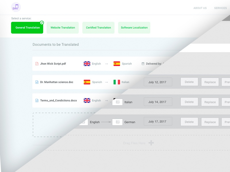 Translation Services Quote - Wireframes to HF clean simple white flags country purple green dashboard quote translation flat