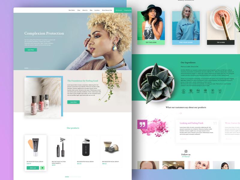 Cosmetics Ecommerce sketch app plants ecommerce web desgin flat  design
