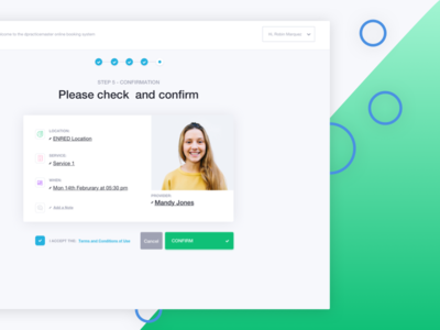 Booking Confirmation Page profil confirmation card profile colors calendar app dashboard flat