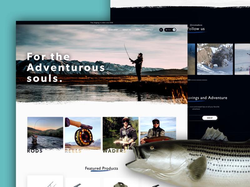 Fishing/Outdoor Ecommerce shopify ecommerce web brush fishing landing page flat