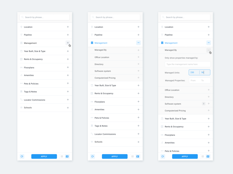 Filter Panel mobilefirst materialdesign uxdesign web dashboard app flat