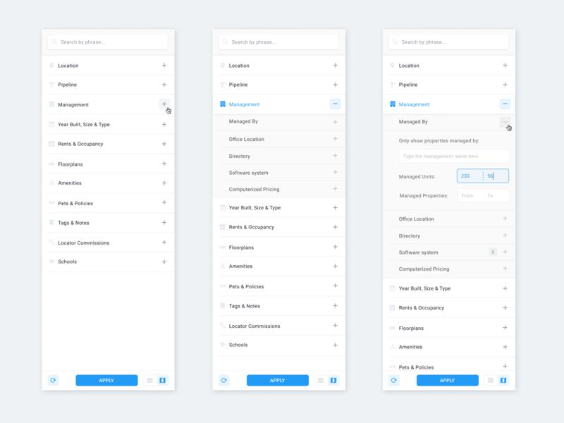 Filter Panel mobilefirst materialdesign uxdesign web dashboard app flat